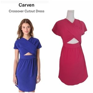 carven crossover cutout dress pink size M